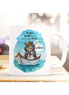 Tasse Becher Kaffeetasse Kater Katze Kätzchen Angelkater Angel Spruch Fischlein beiße sonst scheiße Kaffeebecher Geschenk Spruchbecher ts967