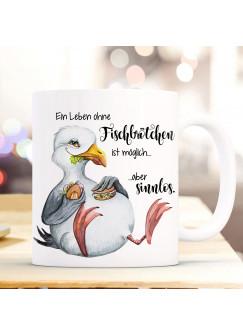 Tasse Becher Kaffeetasse Möwe Vogel Spruch Ein Leben ohne Fischbrötchen Kaffeebecher Geschenk Spruchbecher ts970