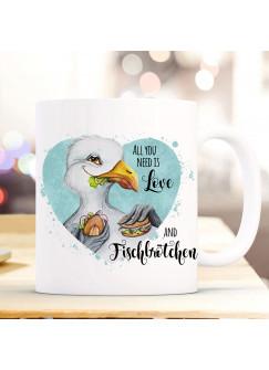 Tasse Becher Kaffeetasse Möwe Vogel Spruch All you need is... Fischbrötchen Kaffeebecher Geschenk Spruchbecher ts971