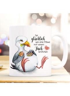 Tasse Becher Kaffeetasse Möwe Vogel Spruch Sei glücklich wie eine Möwe Kaffeebecher Geschenk Spruchbecher ts974