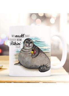 Tasse Becher Kaffeetasse Robbe mit Eis Spruch Wer nackt badet braucht keine Bikinifigur Kaffeebecher Geschenk Spruchbecher ts977