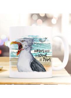 Tasse Becher Kaffeetasse Möwe Vogel Spruch Am Meer macht der Wind die Frisur Kaffeebecher Geschenk Spruchbecher ts978