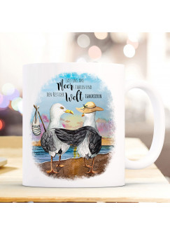 Tasse Becher Kaffeetasse Möwe Vogel Möwenpaar Spruch Ans Meer fahren Welt ignorieren Kaffeebecher Geschenk Spruchbecher ts980