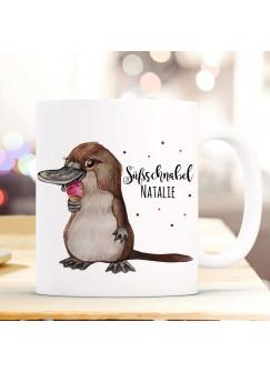 Tasse Becher Schnabeltier mit Eis & Süßschnabel Name Wunschname Kaffeebecher Geschenk Spruchbecher ts983