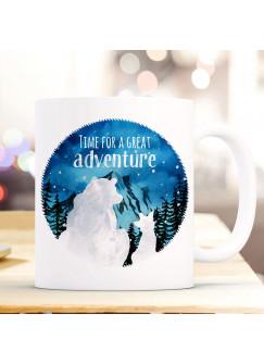 Tasse Becher Kaffeetasse Bär und Fuchs Spruch Time for a great Adventure Berge Kaffeebecher Geschenk Spruchbecher ts986