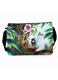 Schultertasche Schultasche Tasche Elfe Fee im Wald mit Schmetterling und Wunschnamen tsu15