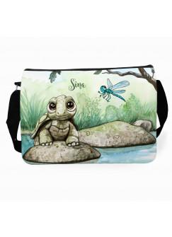 Schultertasche Schultasche Tasche Schildkröte mit Libelle und Wunschnamen tsu17