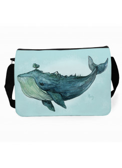 Schultertasche Schultasche Tasche Wal Blauwal mit Wunschnamen tsu18