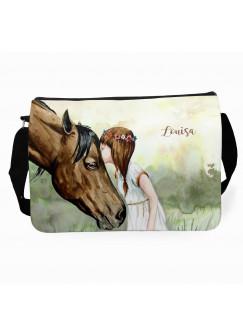 Schultertasche Schultasche Tasche Mädchen & Pferd mit Wunschnamen tsu20
