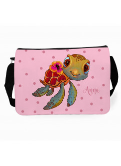 Schultertasche Schultasche Tasche Schildkröte mit Punkte und Wunschnamen tsu21