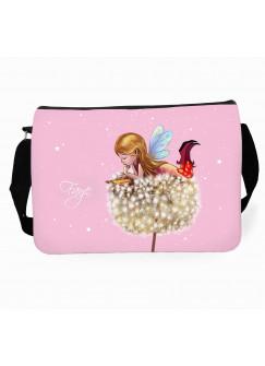 Schultertasche Schultasche Tasche Elfe Fee auf Pusteblume mit Sterne und Wunschnamen tsu23