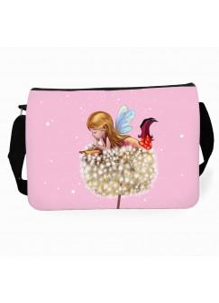Schultertasche Schultasche Tasche Elfe Fee auf Pusteblume mit Sterne tsu24