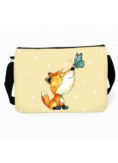Schultertasche Schultasche Tasche mit Fuchs Schmetterling Punkte und Wunschname tsu26