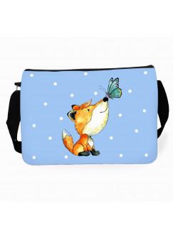 Schultertasche Schultasche Tasche mit Fuchs Schmetterling Punkte und Wunschname tsu27