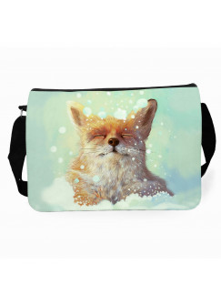 Schultertasche Umhängetasche Schultasche Tasche mit Fuchs im Schnee tsu32