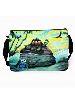Schultertasche Umhängetasche Schultasche Tasche mit Schildkröten im Meer & Name Wunschname tsu37