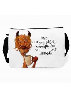 """Schultertasche Umhängetasche Schultasche Tasche mit Lama und Spruch """"eine ganz schlechte idee... ich bin dabei"""" tsu38"""