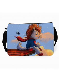 Schultertasche Schultasche mit Superheld Pferd Pferdchen mit Name Wunschname Pferdetasche Reitertasche tsu41