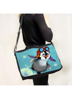 Schultertasche Schultasche Tasche Umhängetasche Pinguin mit Pilotenmütze Pusteblume Löwenzahn tsu53