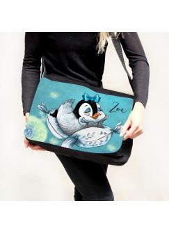 Schultertasche Schultasche Tasche Umhängetasche mit Mädchen Pinguin auf Kissen Pusteblume & Wunschname tsu54