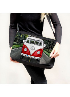 Schultertasche Schultasche Tasche Umhängetasche roter Bulli Bus Front vorne auf Straße Roadtrip tsu74