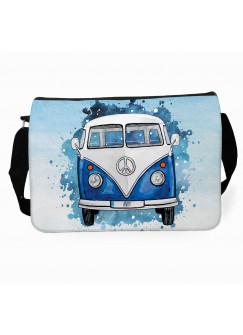 Schultertasche Schultasche Tasche Umhängetasche blauer Bulli Bus Front vorne & Name Wunschname tsu75
