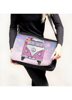 Schultertasche Schultasche Tasche Umhängetasche rosa Bulli Bus mit Blumen & Name Wunschname tsu76