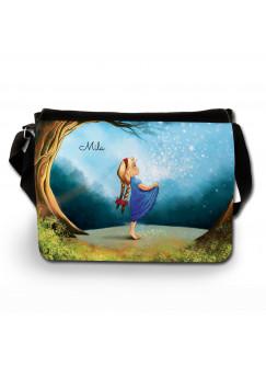 Schultertasche Schultasche Tasche Märchen Sternenhimmel Mädchen im Wald mit Wunschnamen tsu8