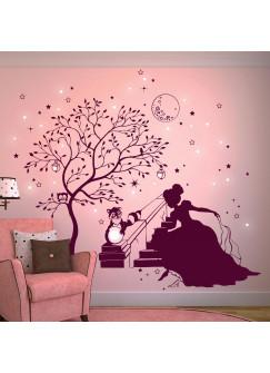 Wandtattoo Prinzessin Cinderella mit Zauberbaum Waschbär Hase und fluoreszierende Sterne M1716