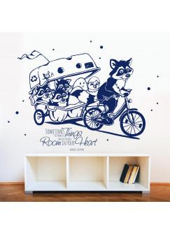 Wandtattoo Waschbären Kinder und Küken auf großer Fahrradtour M1781