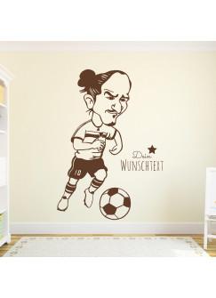 Wandtattoo Fussball Fussballspieler Zlatan mit Wunschtext M1953