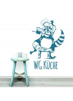 Wandtattoo Waschbär Koch mit Spruch M1939