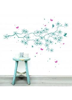 Wandtattoo Blumen Blumenranke Frangipani Kolibris 2-farbig M1807
