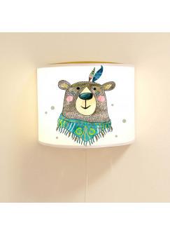 Wandlampe Schlummer-Lampe Lese-Schlummerlicht Indianer Bär Boho mit Punkten Ls36