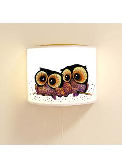Wandlampe Schlummer-Lampe Lese-Schlummerlicht Eulenpärchen auf Ast mit Punkten Ls42