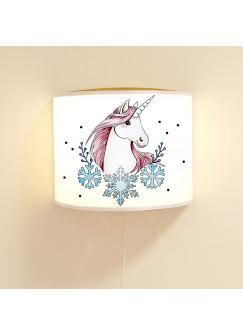 Wandlampe Wandleuchte Lese-Schlummerlampe und Nachtlicht Lampe Einhorn mit Schneekristalle und Punkte ls73