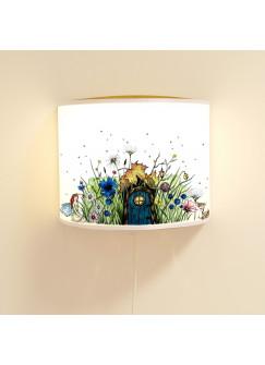 Wandlampe Wandleuchte Lese-Schlummerlampe und Nachtlicht Elfenwiese mit Elfe Fee und Punkten rosa & grün ls71