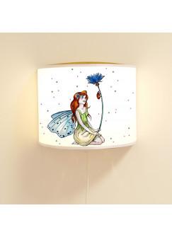 Wandlampe Wandleuchte Lese-Schlummerlampe und Nachtlicht Elfenwiese mit Elfe Fee Kornblume und Punkte rosa & grün ls70