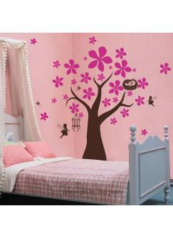 Wandtattoo Blumenbaum mit Eule und Elfen Feen zweifarbig M618