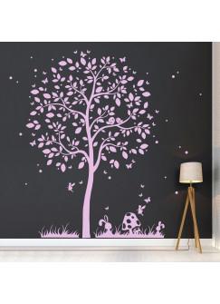 Wandtattoo Baum mit Vögelchen Hasen Elfe und Schmetterlinge M1933