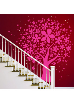Wandtattoo Baum Lilli mit Blüten Punkten und Schmetterlingen zweifarbig M912