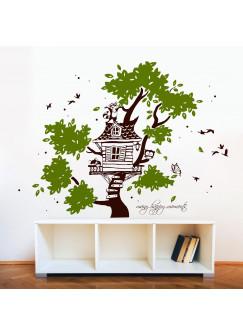 """Wandtattoo Wandaufkleber Baumhaus Baum mit Waschbär Fuchs Eule Schmetterling Punkten und Spruch """"many happy moments"""" zweifarbig M1789"""