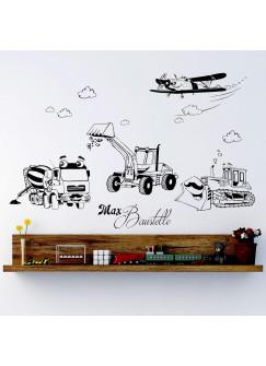 Wandtattoo Baustellen Auto´s Baufahrzeuge Baustelle Bagger Mischer Raupe und Flugzeug mit Wunschname M1733