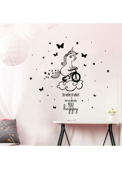Wandtattoo Einhorn auf Rad mit Spruch do more of what makes you happy M2085