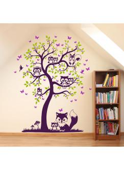 Wandtattoo Baum mit Eulen Eichhörnchen Fuchs und Schmetterlinge dreifarbig M1544