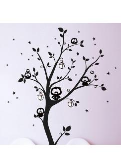 Wandtattoo Eulenbaum Eulen auf Baum mit Sternen und fluoreszierenden Laternen M943