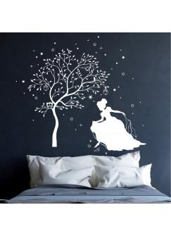 Wandtattoo Cinderella Aschenputtel Prinzessin mit Zauberbaum und Sterne M1718
