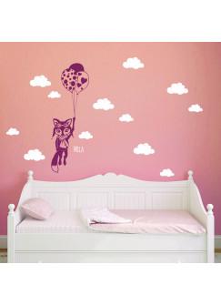 Wandtattoo Fuchs mit Ballons Wolken Himmel mit Namen M1681