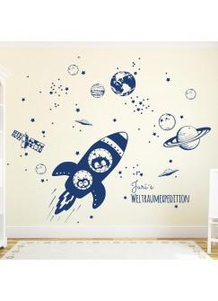 Wandtattoo Raumschiff mit Yuri und Neil im Weltall M1653