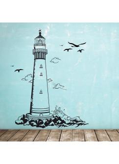 Wandtattoo Leuchtturm Küste Meer Möwen M1465